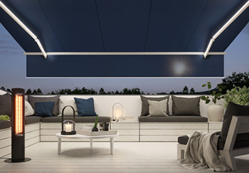 Blue Markilux Retractable Awning with LED Line Lights
