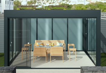 Simplicity Free with glass sliding doors daytime