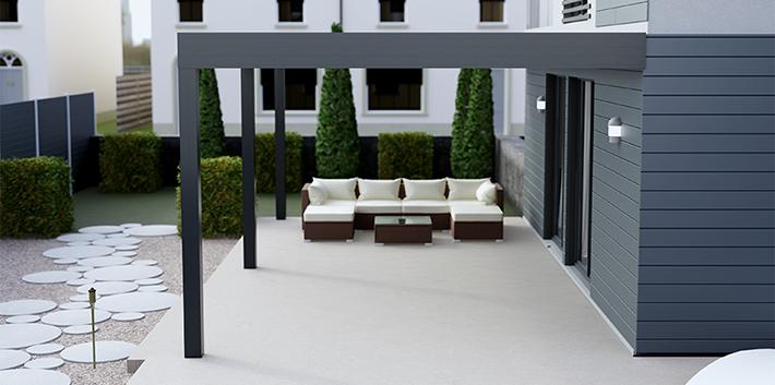 Simplicity Free veranda sheltering outdoor furniture