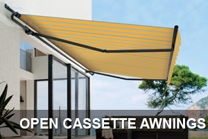 open cassette fabric awning