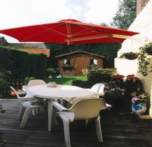terracotta side arm umbrella by Parallax