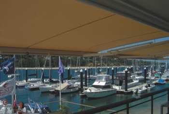 Retractable Awning at harbour cafe
