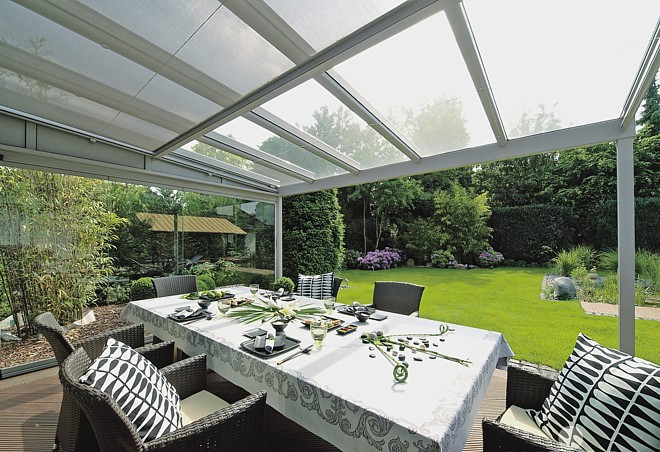 glass roof terrace cover for garden and patio