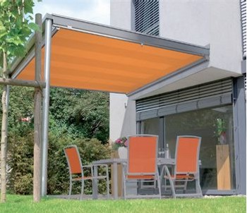 Markilux 889 offering stylish sun protection under a glass canopy