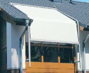 Markilux 8000 Curved Awning on an exterior wooden conservatory