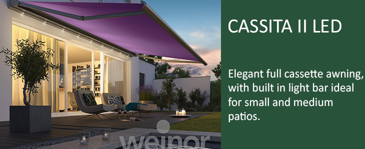 weinor cassita ii lux awning with lights from samson. Black Bedroom Furniture Sets. Home Design Ideas