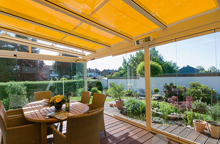 glass room with conservatory awning for shading