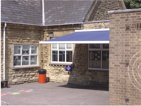Sun awning installed on primary school