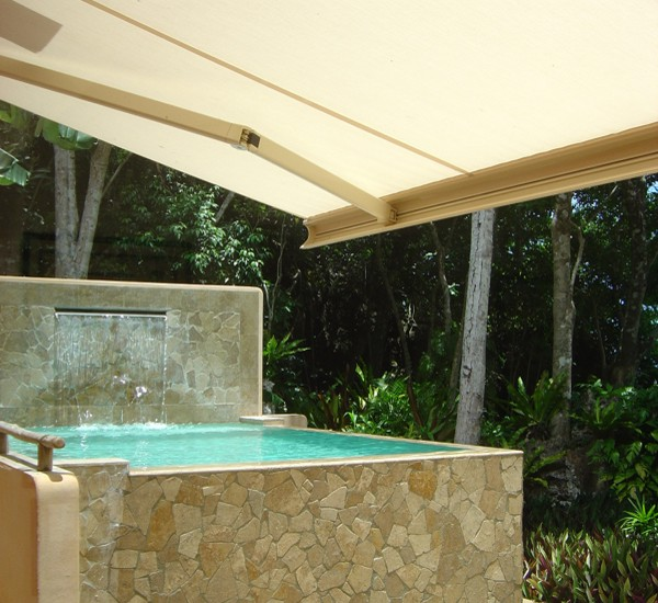Shade over jacuzzi