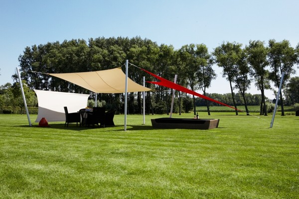 Shade sails offering sun and wind protection
