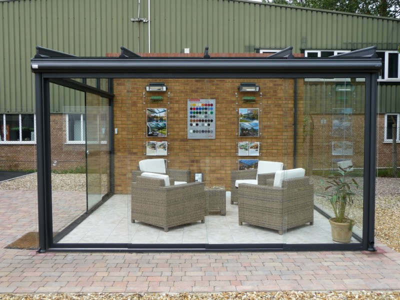 glass outdoor room display