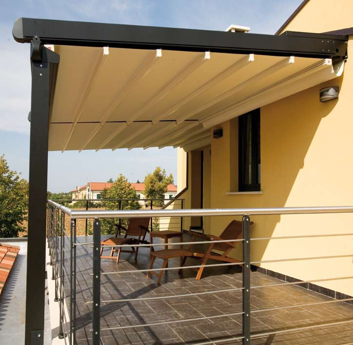 Gibus Med System fully extended showing the aluminium struts to strengthen the whole cover