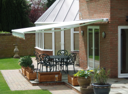 retractable awning on home