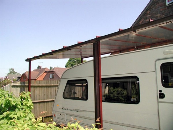 The Samson Homestyle carport is available at larger heights to allow for caravans