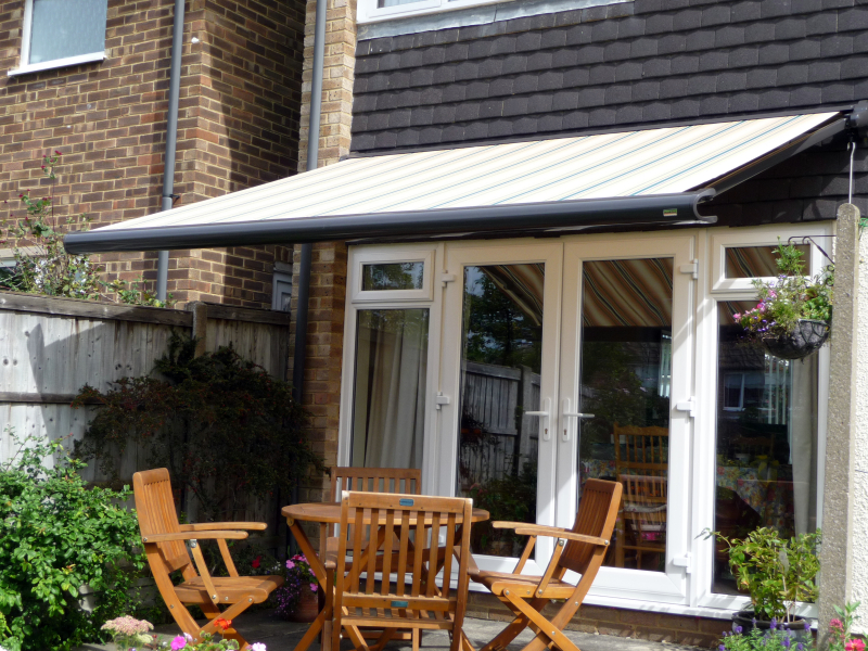 Striped Awning over patio