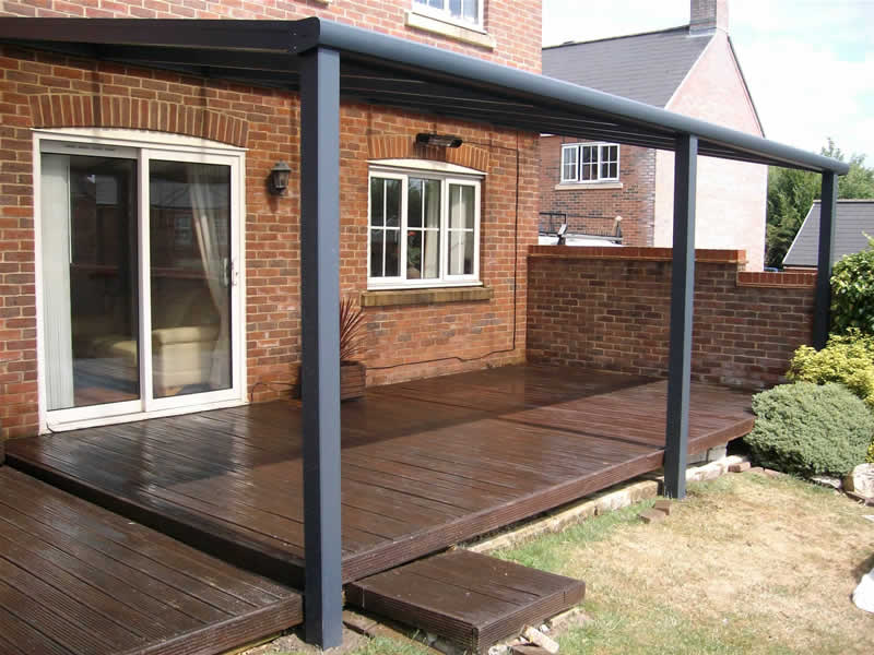 Backyard covered patios - Samson Piazza Aluminium Patio Roof Terrace Cover