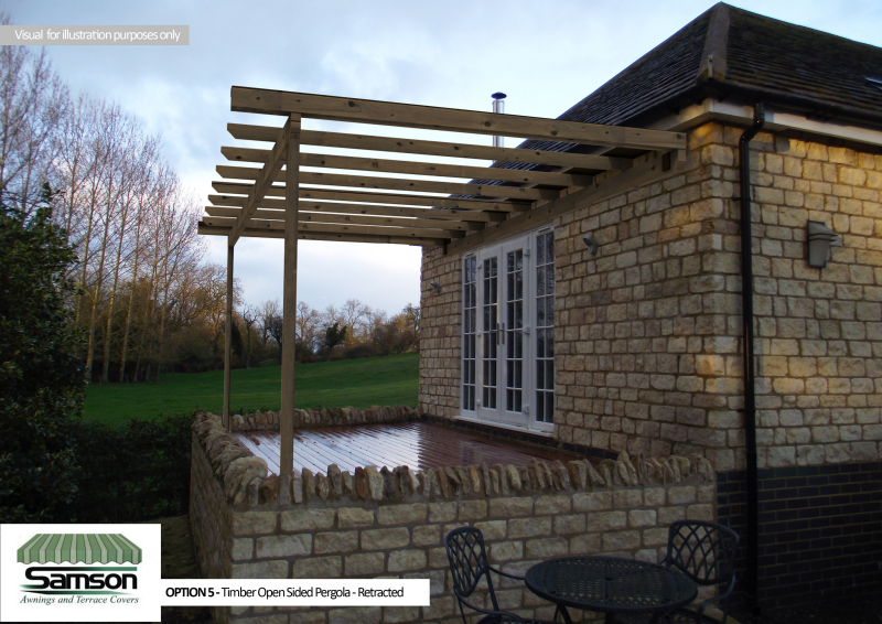 Timber Pergola Retracted