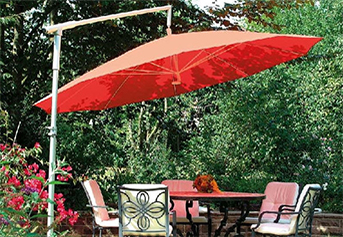 red parasol side arm supported