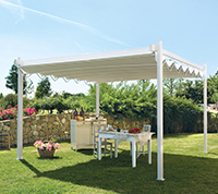 Gibus Isola Fly retractable fabric canopy and pergola framework