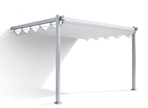 supported retractable fabric pergola