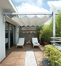 Isola Fly retractable fabric canopy system