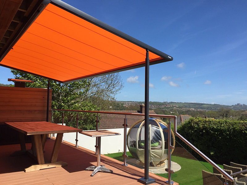 Fabric Retractable Roof. Markilux Pergola