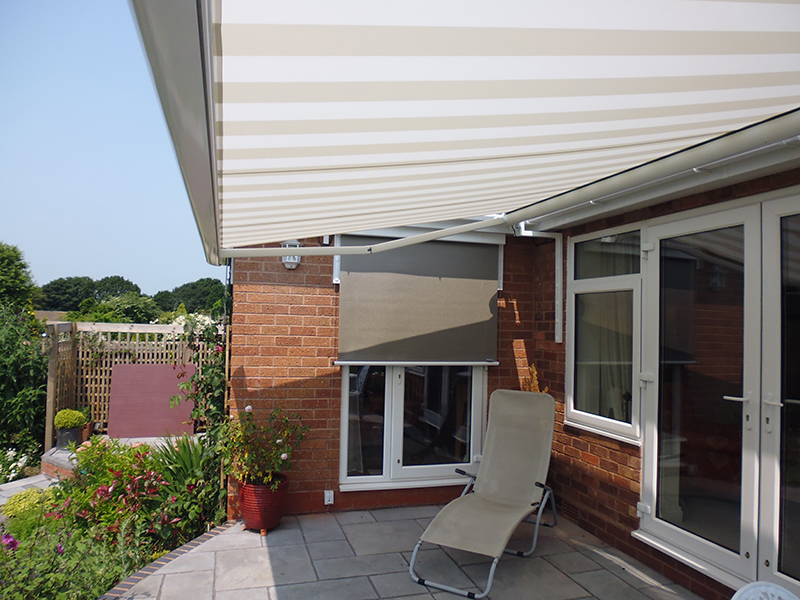Awning and vertical blind