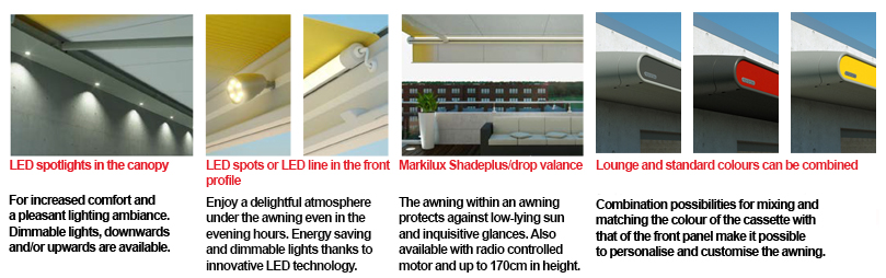 MX-1 retractable Markilux awning features