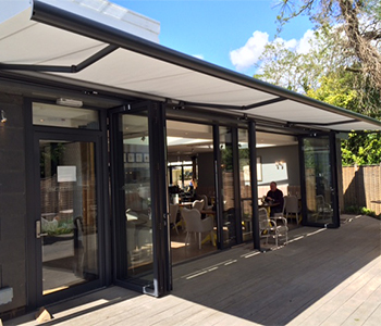 Cream Markilux 5010 Awning on Syncra Frame