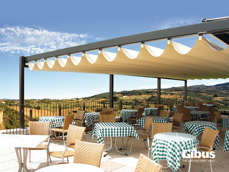 Enhanced Retractable Roof Systems - Commercial Retractable Roofs Markilux Pergola & Gibus Med Isola