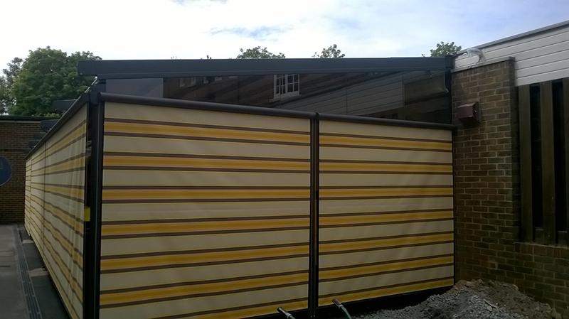 Weinor Pergotex with vertical blinds