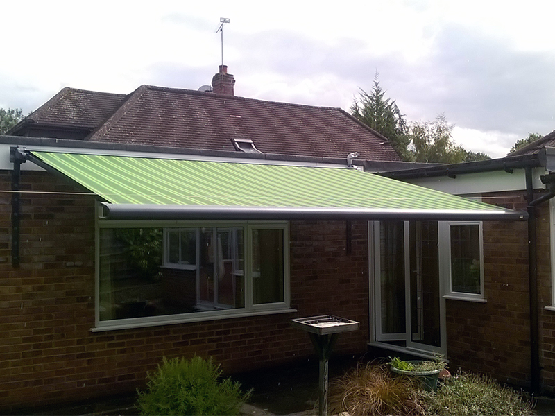 Green Striped Awning
