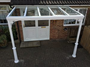 Glass veranda with panels