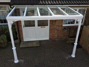 Glass veranda with panels