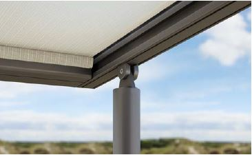 Slender Aluminium Posts Make The Pergola Stand Out From Crowd With Lateral Guide Tracks Directing And Securing Fabric Maintaining Optimum Tension
