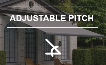 Unique awnings with adjustable pitch at any time