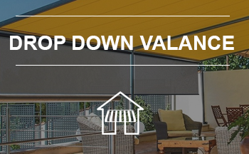Awnings with drop down fabric valances