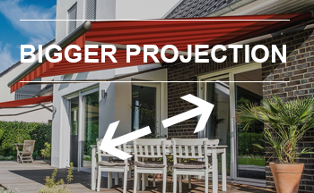 stretch awnings, projection greater than width