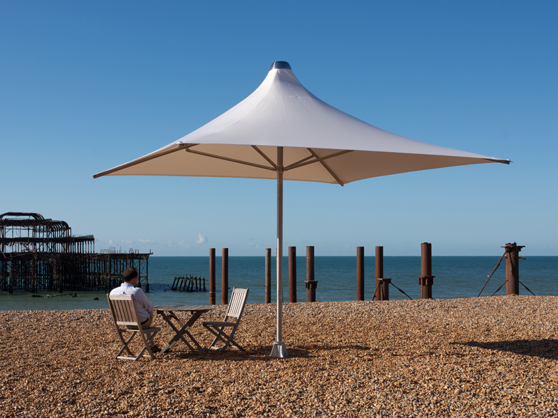 Silver Vortex Umbrella at Brighton Beach