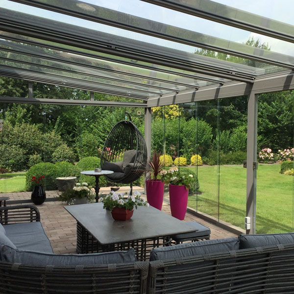 Stunning full garden views from inside a Glass Room