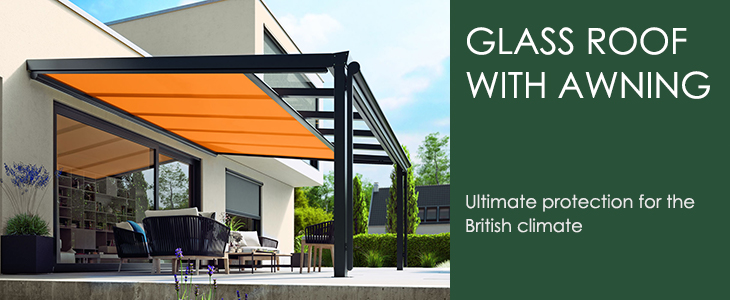 Glass Roof With An Awning | All Weather Solutions from Samson Awnings
