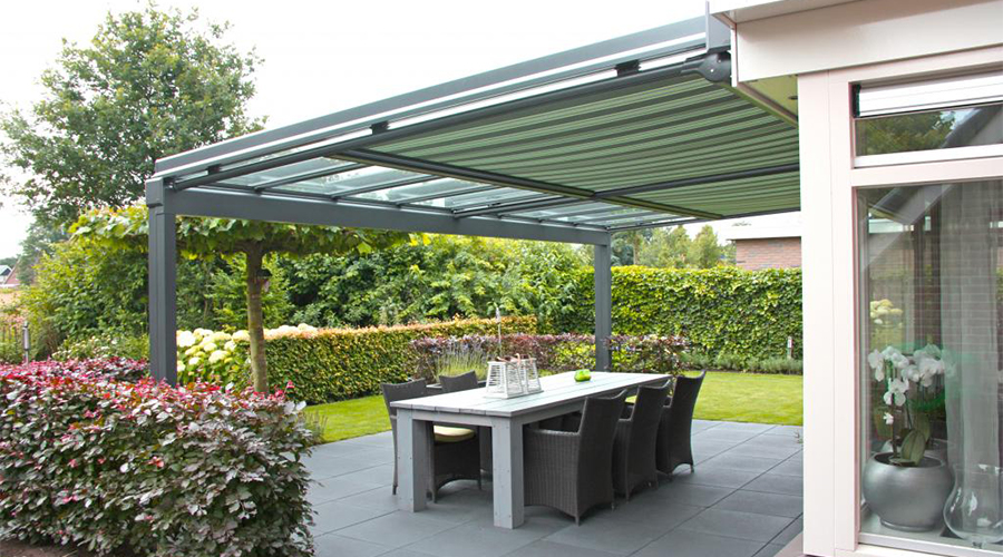 Veranda with awning