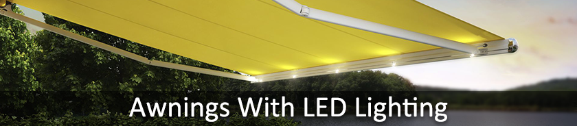 Awnings with LED lighting