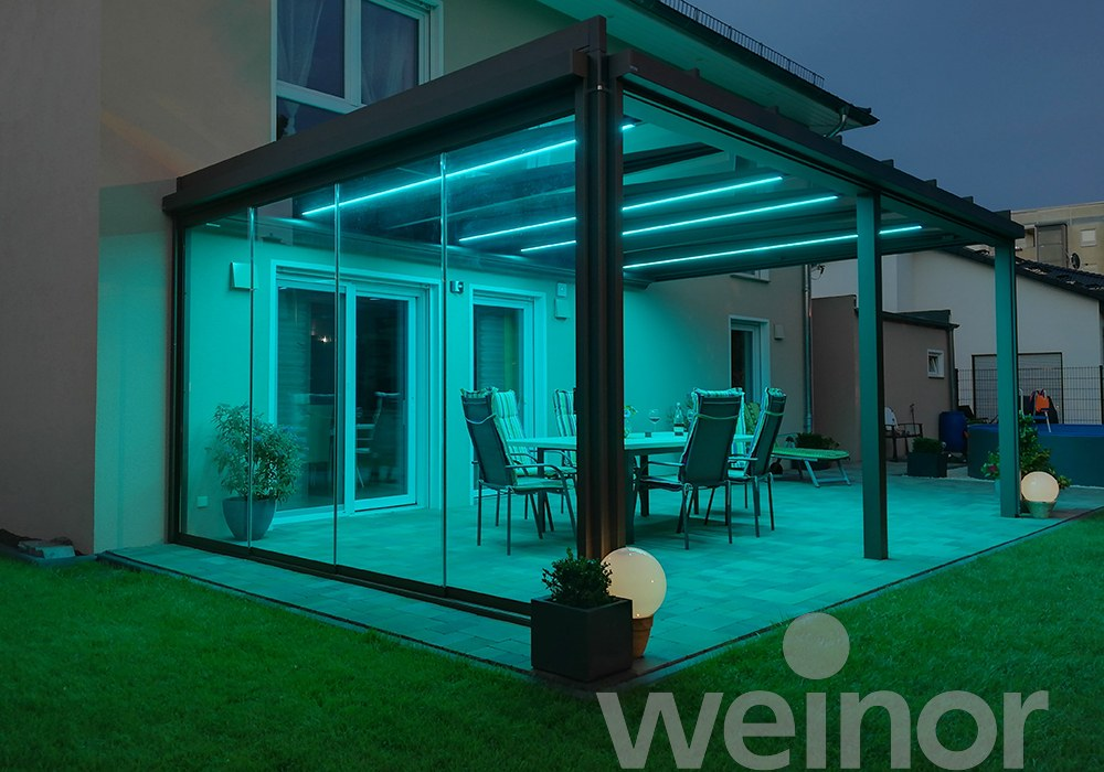 Terrazza Pure with Blue LED Lights and Glass Panels