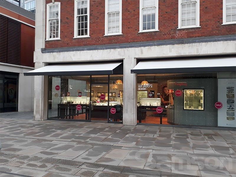 Multiple Awning installations over High Street shops