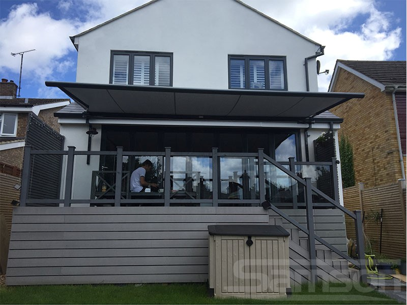 Retractable Awning installed over raised terrace