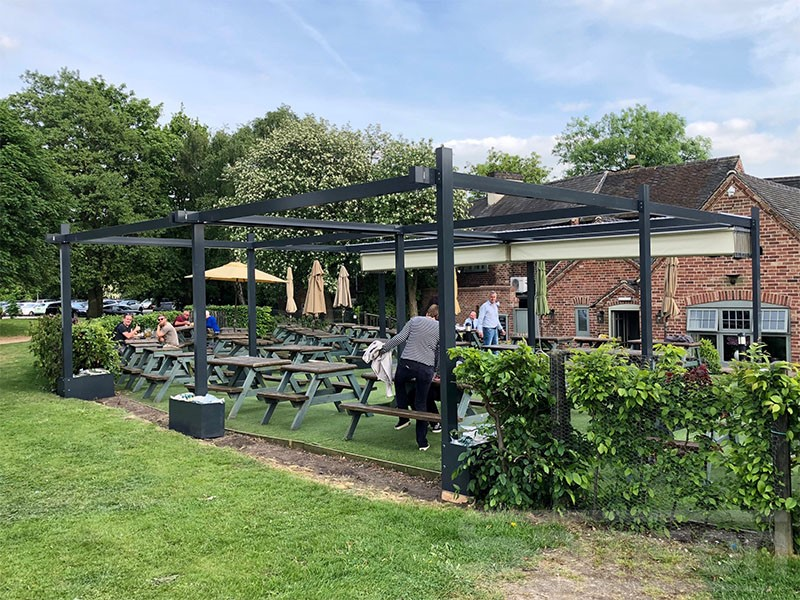 Commercial Retractable Roof Systems installed in Pub Garden