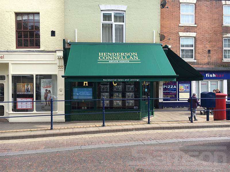 Multiple Branded Retractable Awnings Installed in High Street