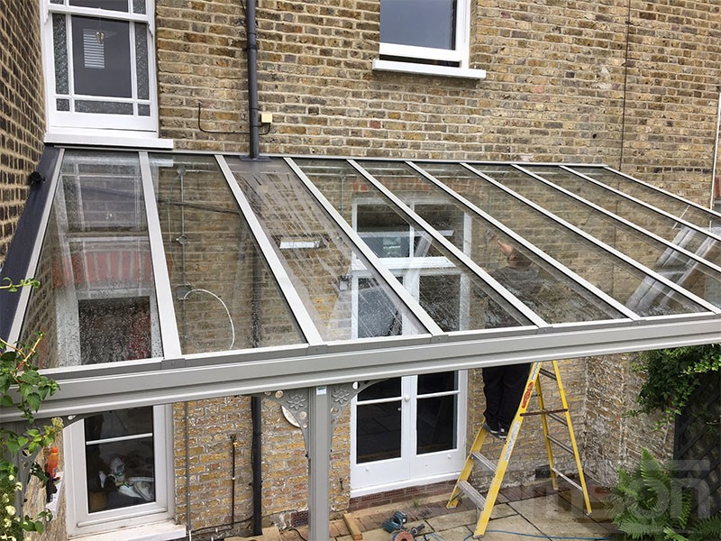 Grey Glass Roof with Tinted Glazing Installation
