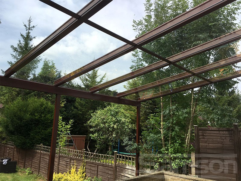 Terra Brown Glass Roof Installation